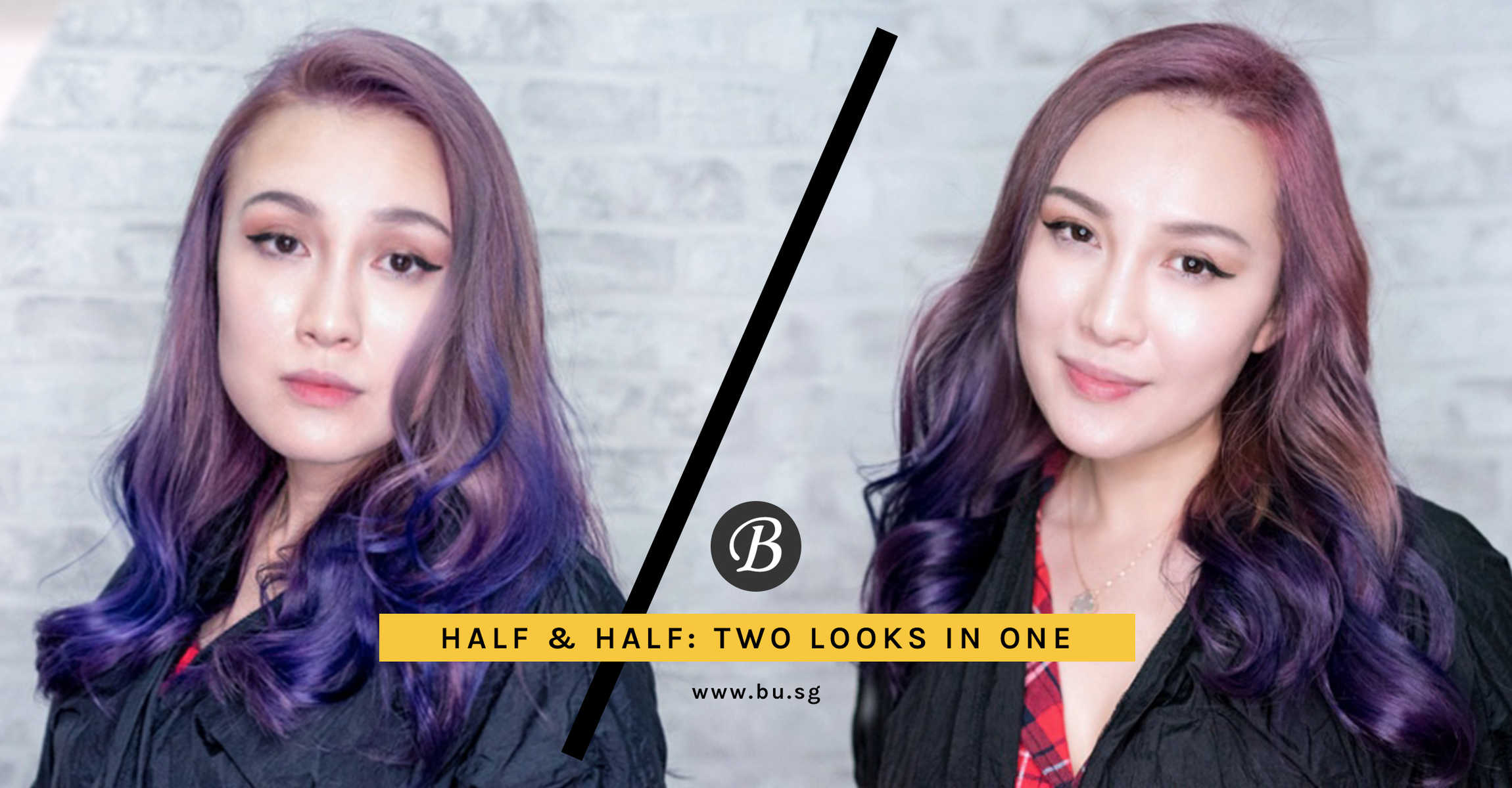 This Half-and-Half Pale Pink Spectrum Hair Colour gives you Two Looks in One!